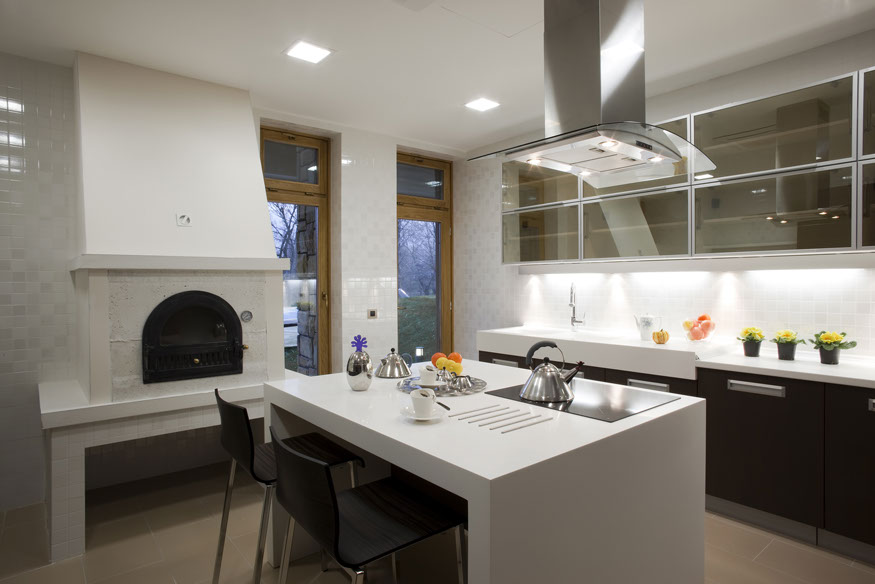 WHITE QUARTZ KITCHEN WITH MITER FOLD PICTURE FRAME ISLAND
