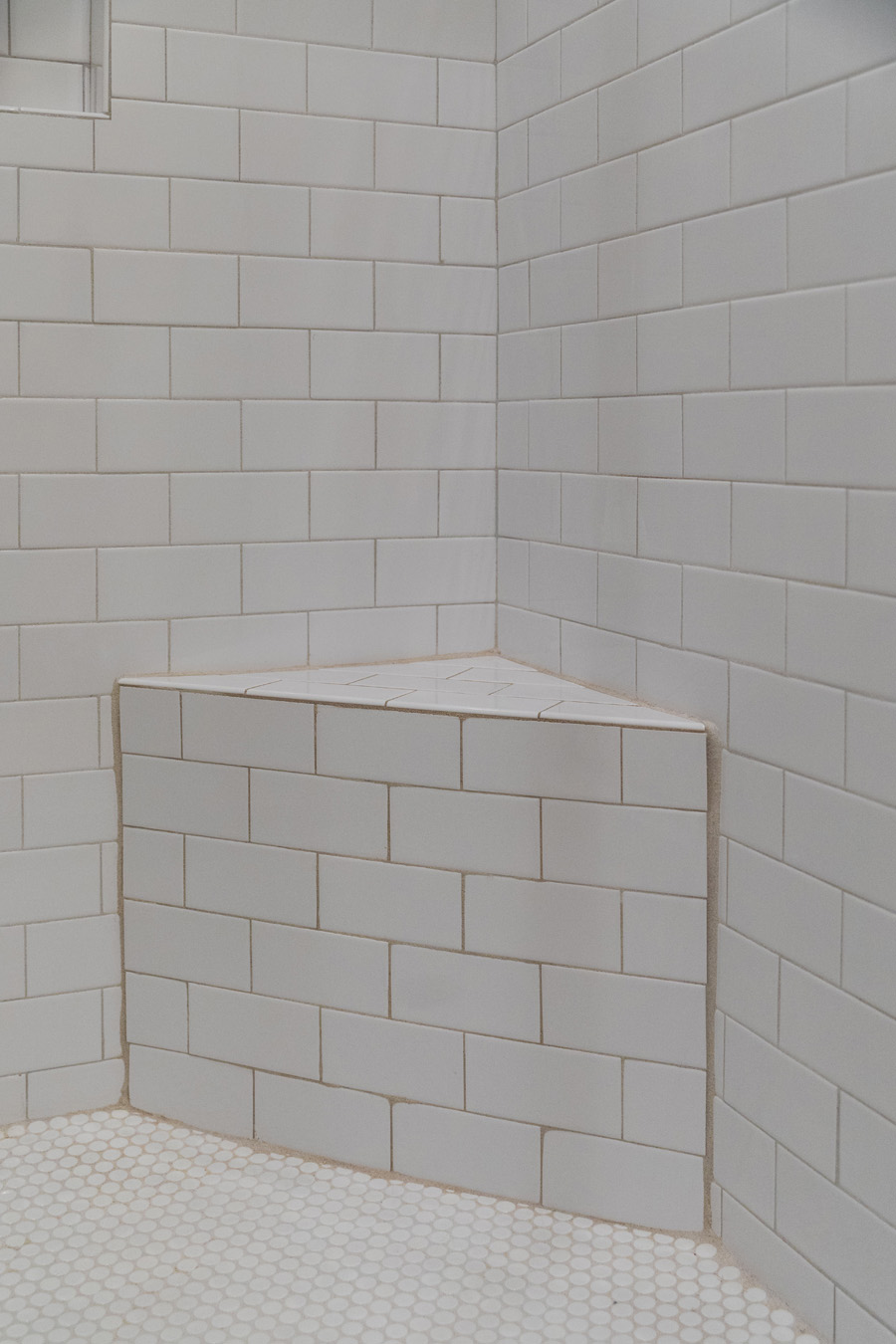 SHOWER TILE WITH SCHULTER CURB AND NICHE