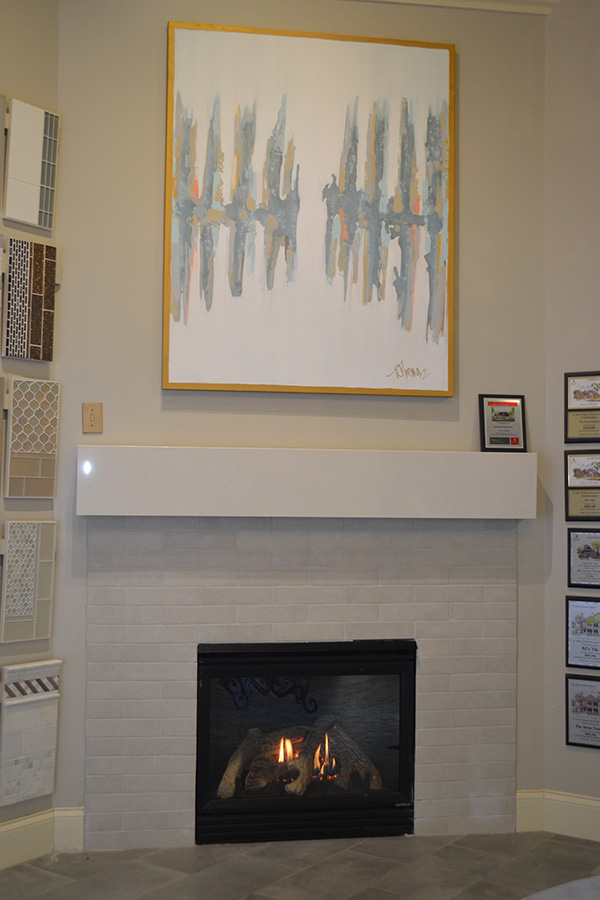 white brick look fireplace
