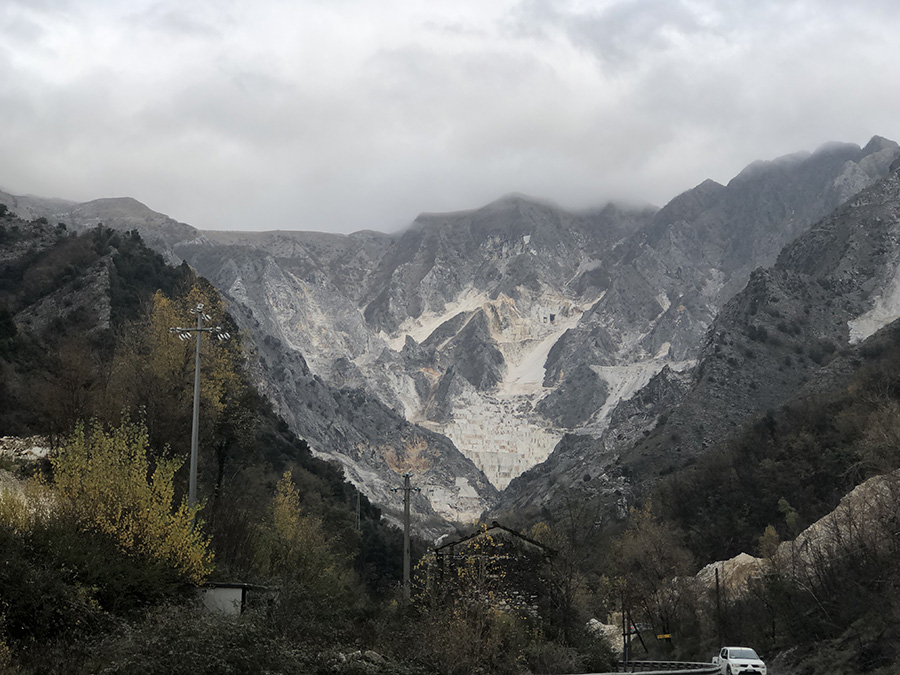 breath taking view of marble quarry mountains